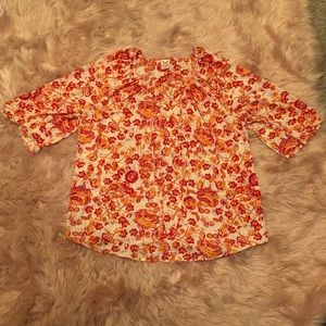 Faded Glory Floral Blouse Size:1X
